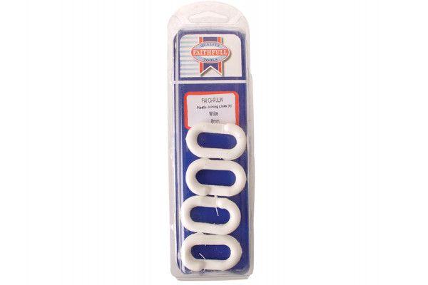 Faithfull Plastic Joining Links 8mm White (Pack of 4)
