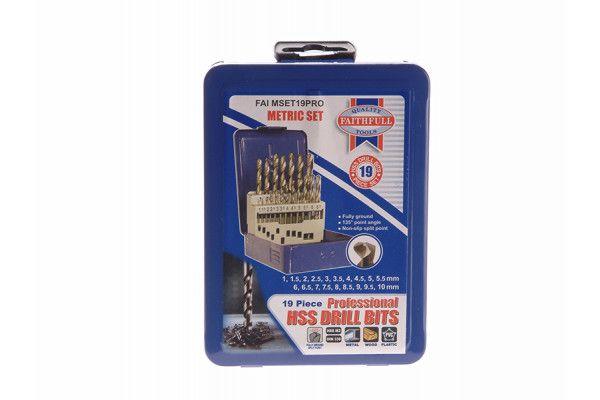 Faithfull HSS Drill Bit Set of 19 M2 1 - 10mm & Case