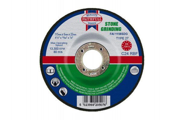 Faithfull Depressed Centre Stone Grinding Disc 115 x 6 x 22mm