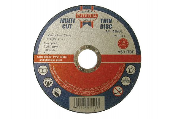 Faithfull Multi-Cut Cutting Discs 125 x 1.0 x 22mm (Pack of 10)