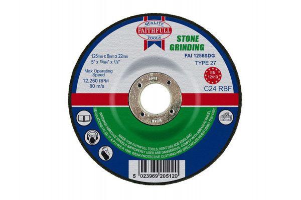 Faithfull Depressed Centre Stone Grinding Disc 125 x 6 x 22mm