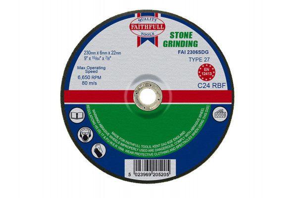 Faithfull Depressed Centre Stone Grinding Disc 230 x 6 x 22mm