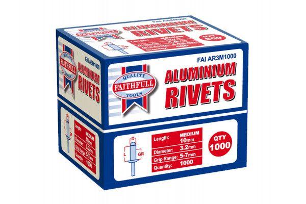 Faithfull Aluminium Rivets 3.2mm x 10mm Medium Bulk Pack of 1000