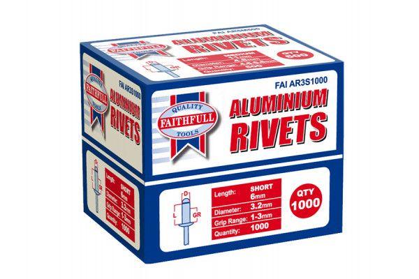 Faithfull Aluminium Rivets 3.2mm x 6mm Short Bulk Pack of 1000