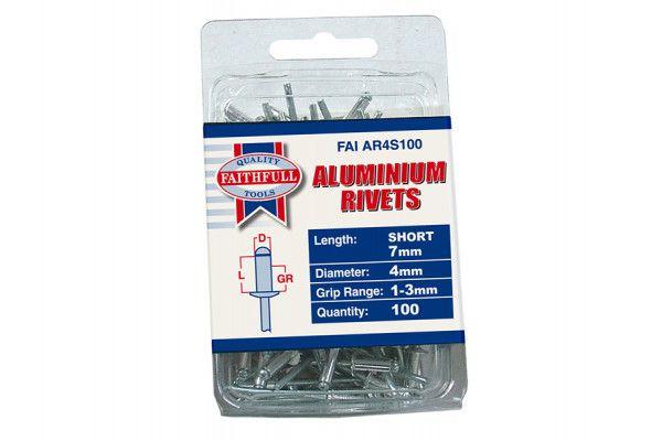 Faithfull Aluminium Rivets 4mm x 7mm Short Pre-Pack of 100