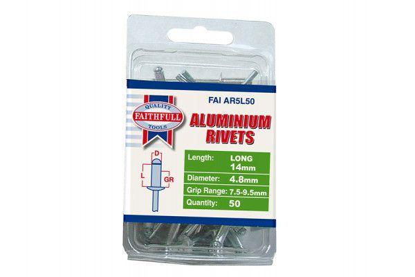Faithfull Aluminium Rivets 4.8mm x 14mm Long Pre-Pack of 50