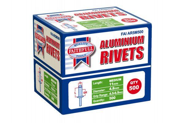 Faithfull Aluminium Rivets 4.8mm x 11mm Medium Bulk Pack of 500