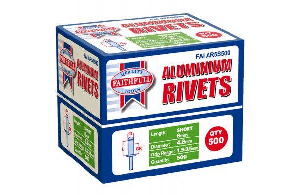 Faithfull Aluminium Rivets 4.8mm x 8mm Short Bulk Pack of 500