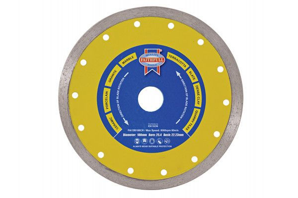 Faithfull Diamond Tile Blade Continuous Rim 105 x 16mm