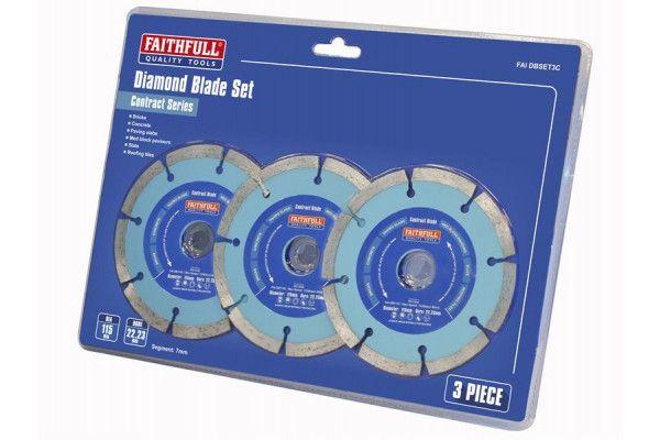 Faithfull Contract Diamond Blade Set of 3 115 x 22.2mm