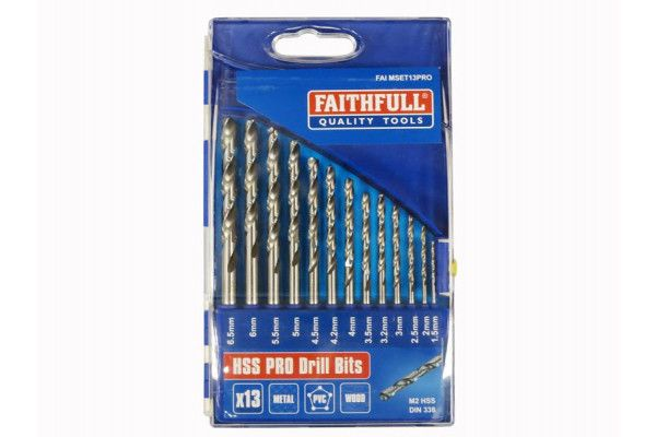 Faithfull HSS Drill Bit Set of 13 M2 1.5-6.5mm