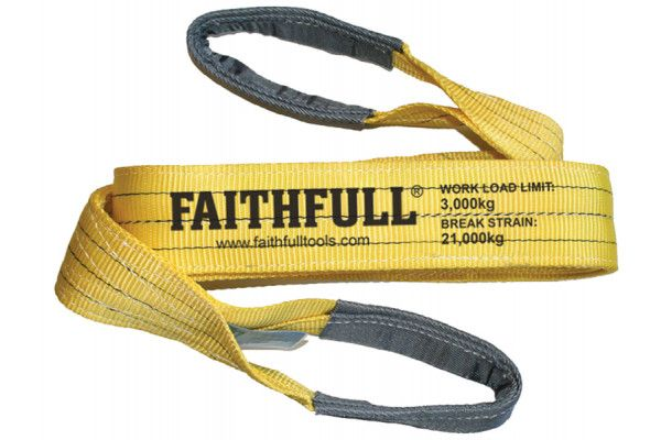 Faithfull Lifting Sling Yellow 3 Tonne 90mm x 2m