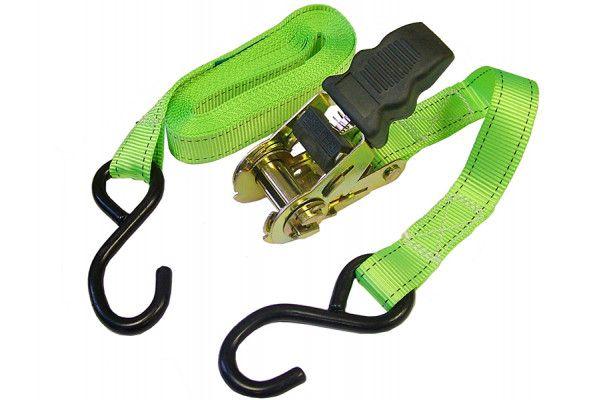 Faithfull Ratchet Tie-Downs S Hook 5m x 25mm Breaking Strain 600kg/daN 2 Piece