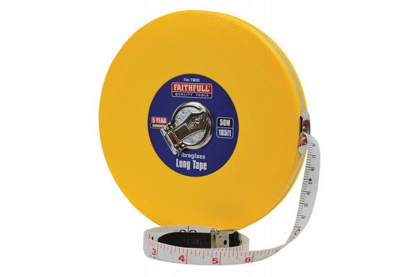 Faithfull Closed ABS Fibreglass Long Tape 50m/165ft (Width 13mm)