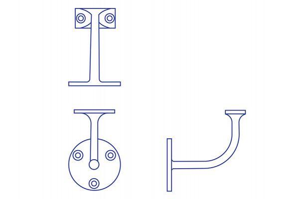 Forge Handrail Bracket - Aluminium - 64mm
