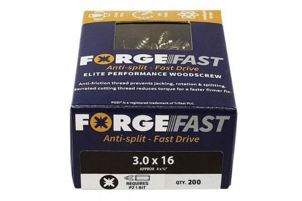 Forgefix ForgeFast Pozi® Compatible Elite Performance Wood Screw ZY 3.0 x 16mm Box 200