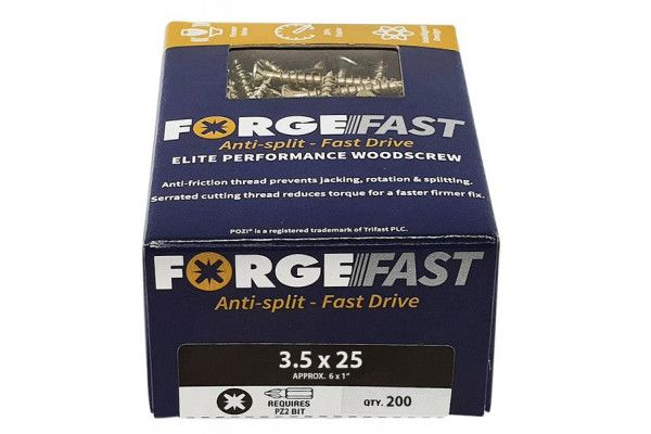 Forgefix ForgeFast Pozi® Compatible Elite Performance Wood Screw ZY 3.5 x 25mm Box 200