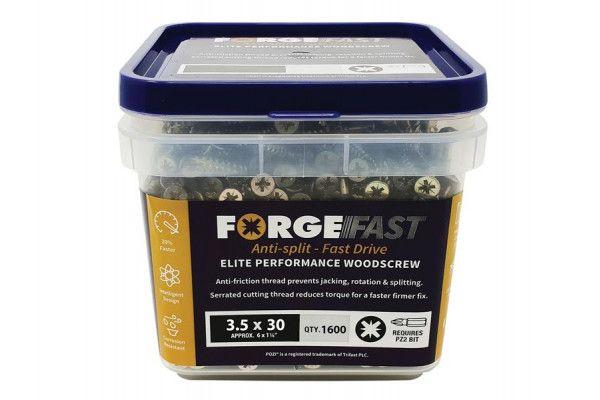 Forgefix ForgeFast Pozi® Compatible Elite Performance Wood Screw ZY 3.5 x 30mm Tub 1600