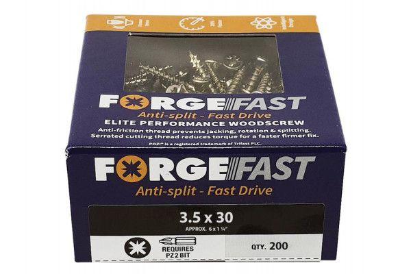 Forgefix ForgeFast Pozi® Compatible Elite Performance Wood Screw ZY 3.5 x 30mm Box 200