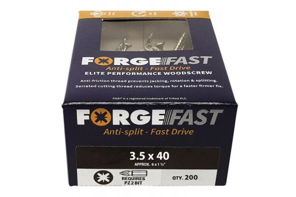 Forgefix ForgeFast Pozi® Compatible Elite Performance Wood Screw ZY 3.5 x 40mm Box 200