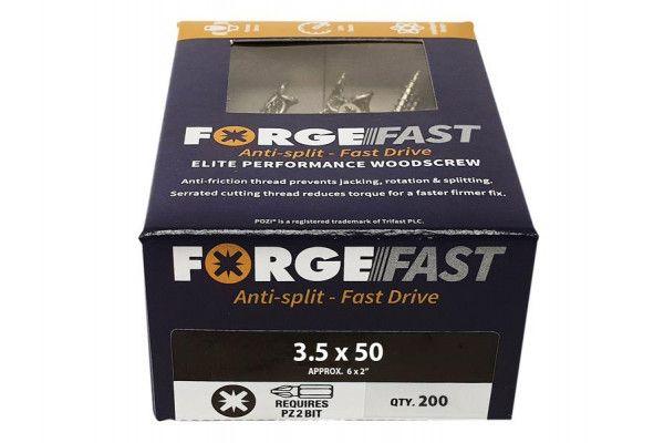 Forgefix ForgeFast Pozi® Compatible Elite Performance Wood Screw ZY 3.5 x 50mm Box 200