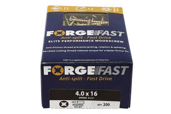 Forgefix ForgeFast Pozi® Compatible Elite Performance Wood Screw ZY 4.0 x 16mm Box 200