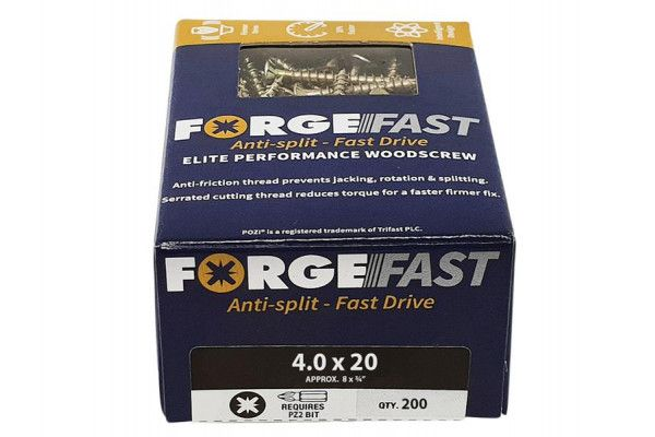 Forgefix ForgeFast Pozi® Compatible Elite Performance Wood Screw ZY 4.0 x 20mm Box 200
