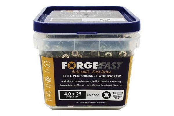 Forgefix ForgeFast Pozi® Compatible Elite Performance Wood Screw ZY 4.0 x 25mm Tub 1600