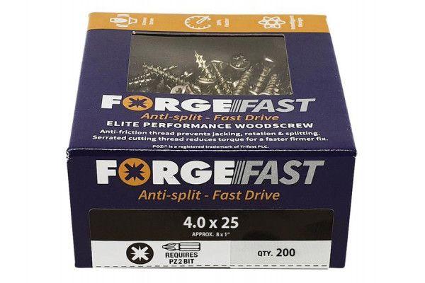 Forgefix ForgeFast Pozi® Compatible Elite Performance Wood Screw ZY 4.0 x 25mm Box 200