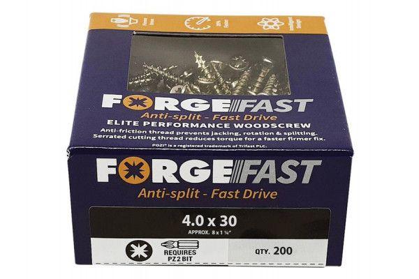 Forgefix ForgeFast Pozi® Compatible Elite Performance Wood Screw ZY 4.0 x 30mm Box 200