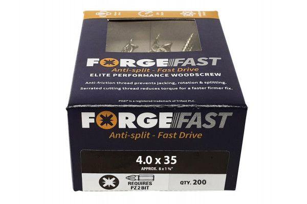 Forgefix ForgeFast Pozi® Compatible Elite Performance Wood Screw ZY 4.0 x 35mm Box 200
