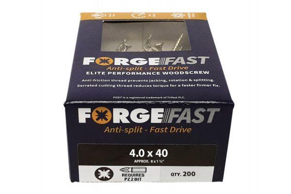 Forgefix ForgeFast Pozi® Compatible Elite Performance Wood Screw ZY 4.0 x 40mm Box 200