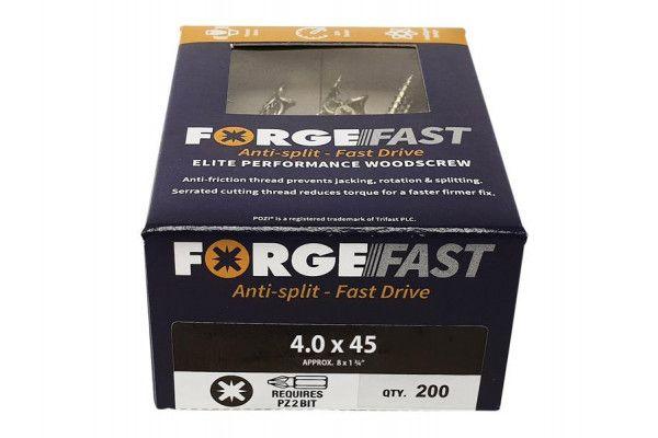 Forgefix ForgeFast Pozi® Compatible Elite Performance Wood Screw ZY 4.0 x 45mm Box 200