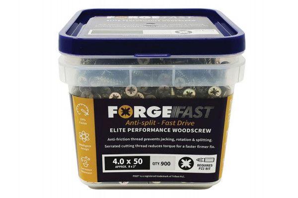 Forgefix ForgeFast Pozi® Compatible Elite Performance Wood Screw ZY 4.0 x 50mm Tub 900