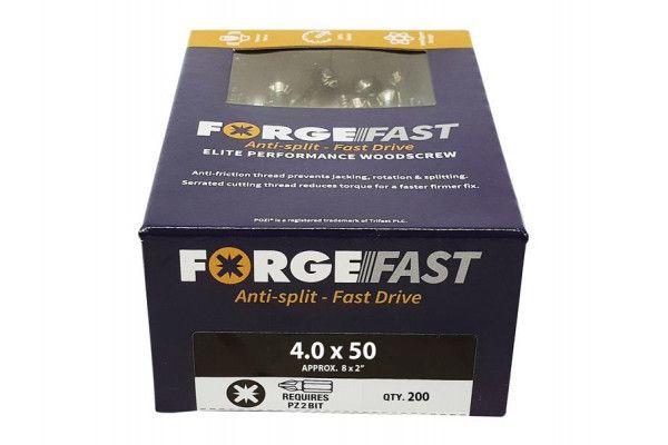 Forgefix ForgeFast Pozi® Compatible Elite Performance Wood Screw ZY 4.0 x 50mm Box 200