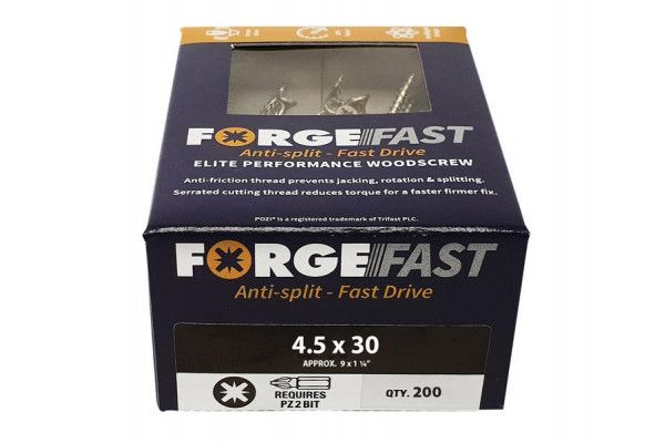 Forgefix ForgeFast Pozi® Compatible Elite Performance Wood Screw ZY 4.5 x 30mm Box 200