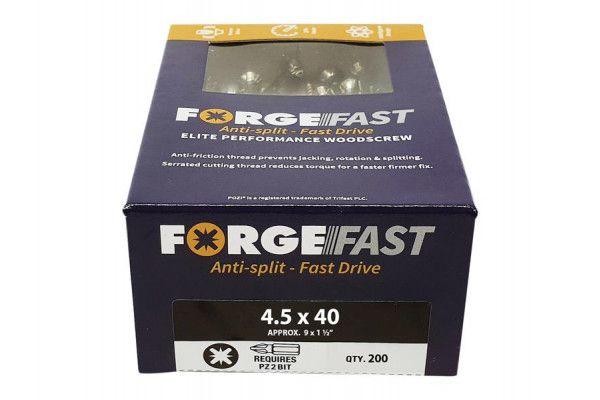 Forgefix ForgeFast Pozi® Compatible Elite Performance Wood Screw ZY 4.5 x 40mm Box 200