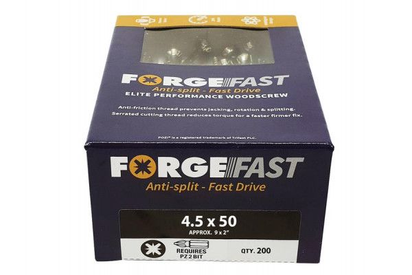 Forgefix ForgeFast Pozi® Compatible Elite Performance Wood Screw ZY 4.5 x 50mm Box 200