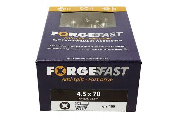 Forgefix ForgeFast Pozi® Compatible Elite Performance Wood Screw ZY 4.5 x 70 mm Box 100