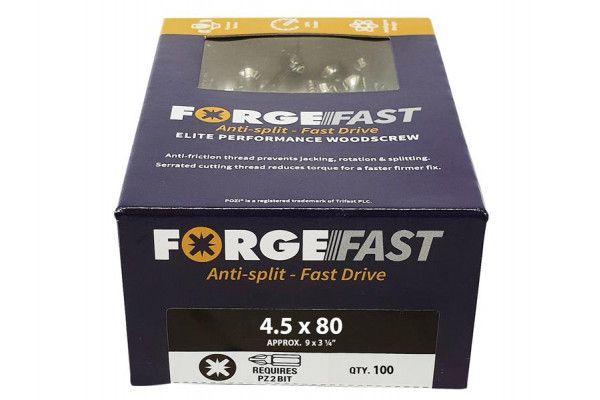 Forgefix ForgeFast Pozi® Compatible Elite Performance Wood Screw ZY 4.5 x 80 mm Box 100