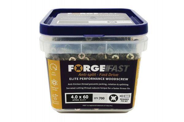 Forgefix ForgeFast Pozi® Compatible Elite Performance Wood Screw ZY 4.0 x 60mm Tub 700