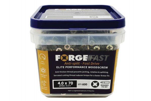 Forgefix ForgeFast Pozi® Compatible Elite Performance Wood Screw ZY 4.0 x 70mm Tub 600