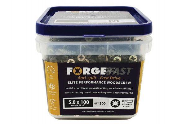 Forgefix ForgeFast Pozi® Compatible Elite Performance Wood Screw ZY 5.0 x 100mm Tub 300