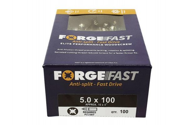 Forgefix ForgeFast Pozi® Compatible Elite Performance Wood Screw ZY 5.0 x 100mm Box 100