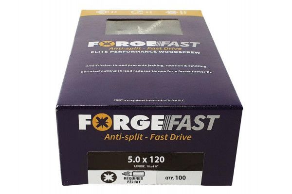 Forgefix ForgeFast Pozi® Compatible Elite Performance Wood Screw ZY 5.0 x 120mm Box 100