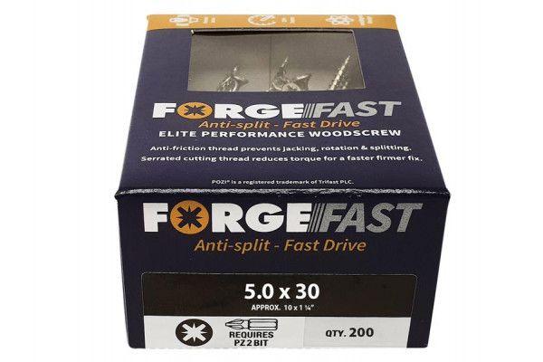 Forgefix ForgeFast Pozi® Compatible Elite Performance Wood Screw ZY 5.0 x 30mm Box 200