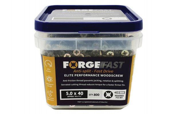 Forgefix ForgeFast Pozi® Compatible Elite Performance Wood Screw ZY 5.0 x 40mm Tub 800