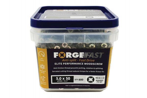 Forgefix ForgeFast Pozi® Compatible Elite Performance Wood Screw ZY 5.0 x 50mm Tub 600