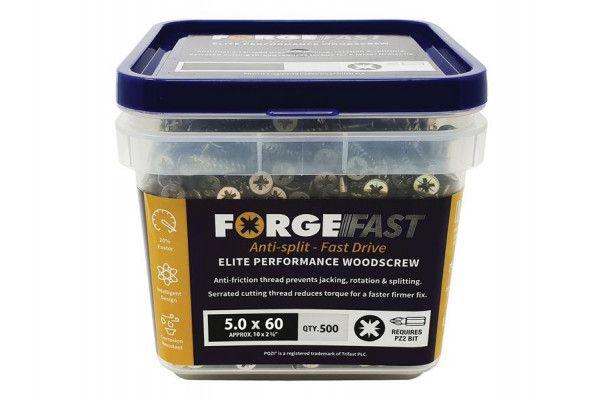 Forgefix ForgeFast Pozi® Compatible Elite Performance Wood Screw ZY 5.0 x 60mm Tub 500