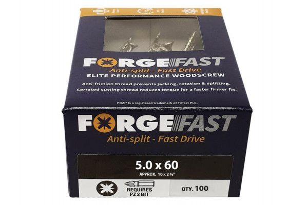 Forgefix ForgeFast Pozi® Compatible Elite Performance Wood Screw ZY 5.0 x 60mm Box 100